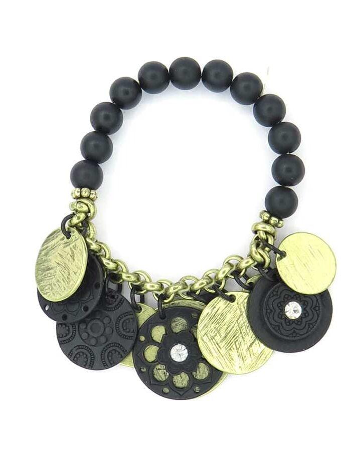 Zwarte armband met gouden en zwarte bedels