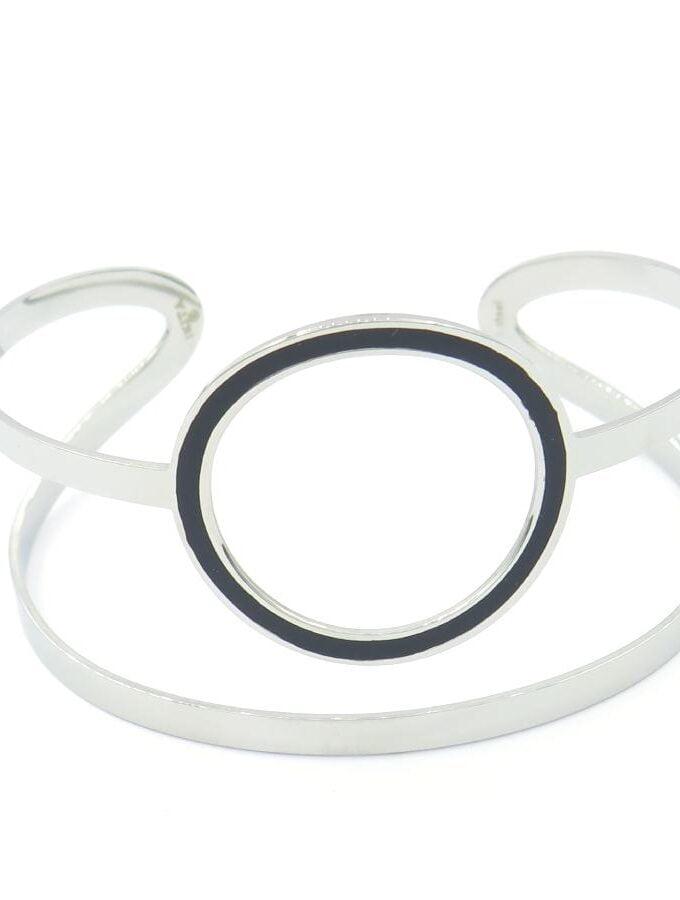 Armband zilver zwarte cirkel