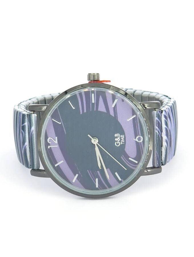 Horloge vlammen paars blauw