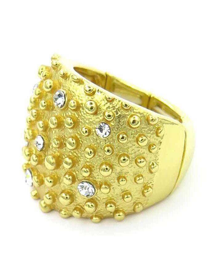 Ring breed elastiek goudkleurig steentjes