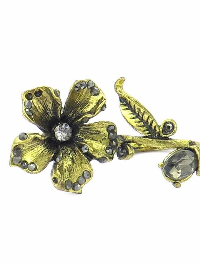 Dubbele ring goudkleurig bloem en stenen