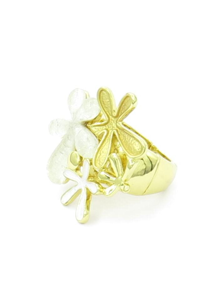Ring elastiek goud wit bloemen