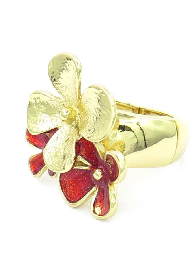 Ring elastiek goud rode bloemen
