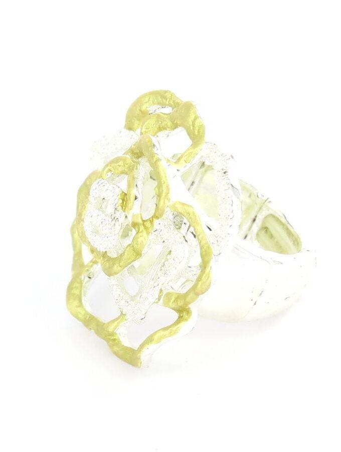 Ring elastiek zilver en goudkleurig open roos