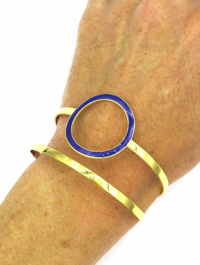 Armband goud met blauw cirkel
