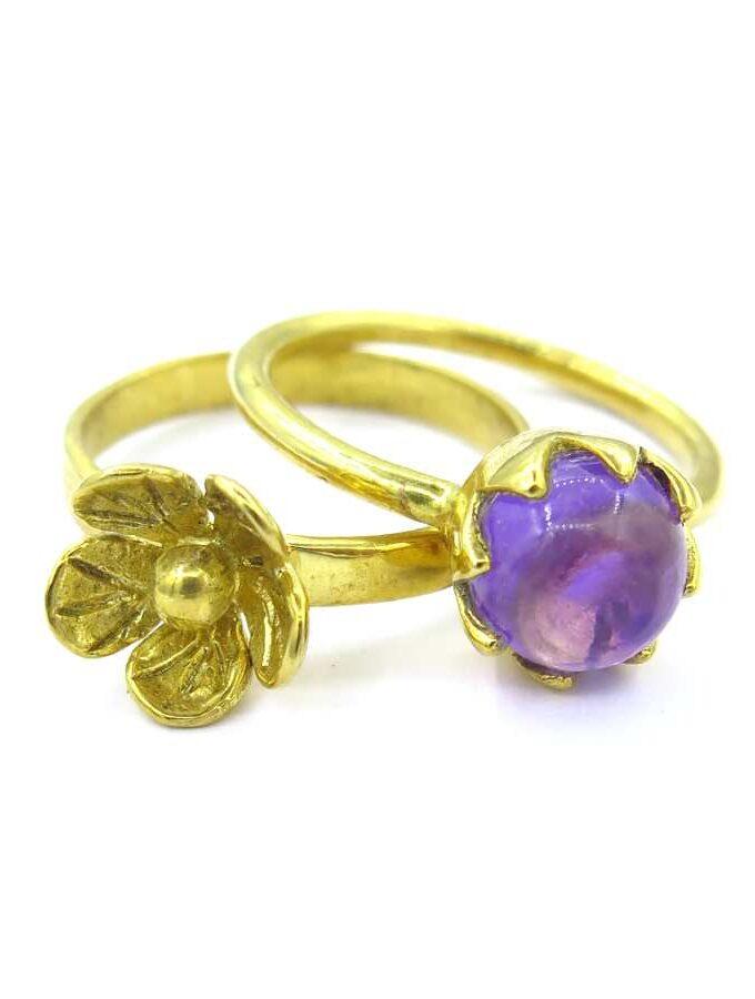 Ring goud los bloem en paarse amethist