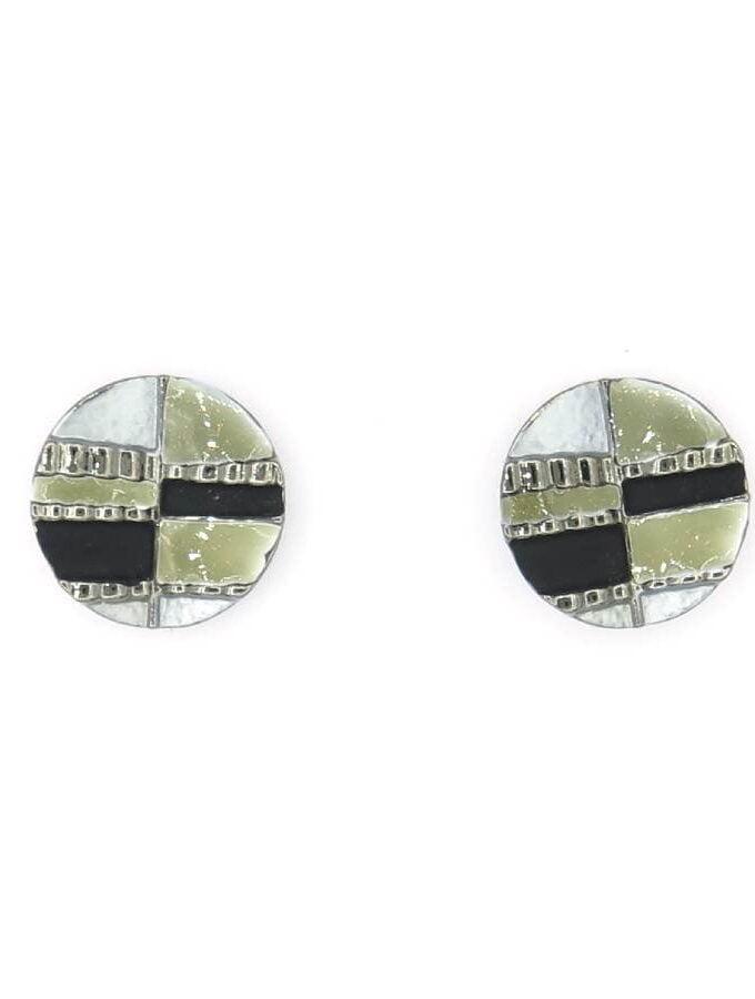 Oorbellen rond zwart zilver grijs