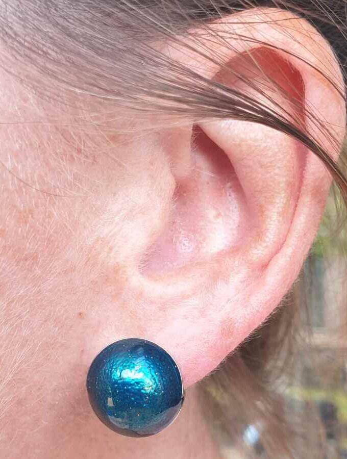 Oorbellen blauw bollen