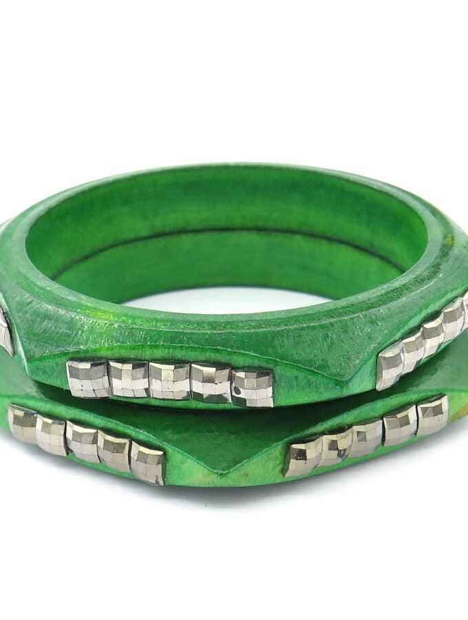 Houten armband groen los