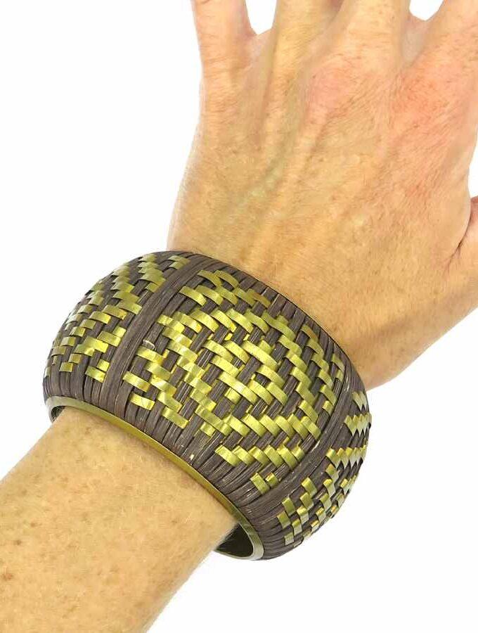 Armband bruin geel grof