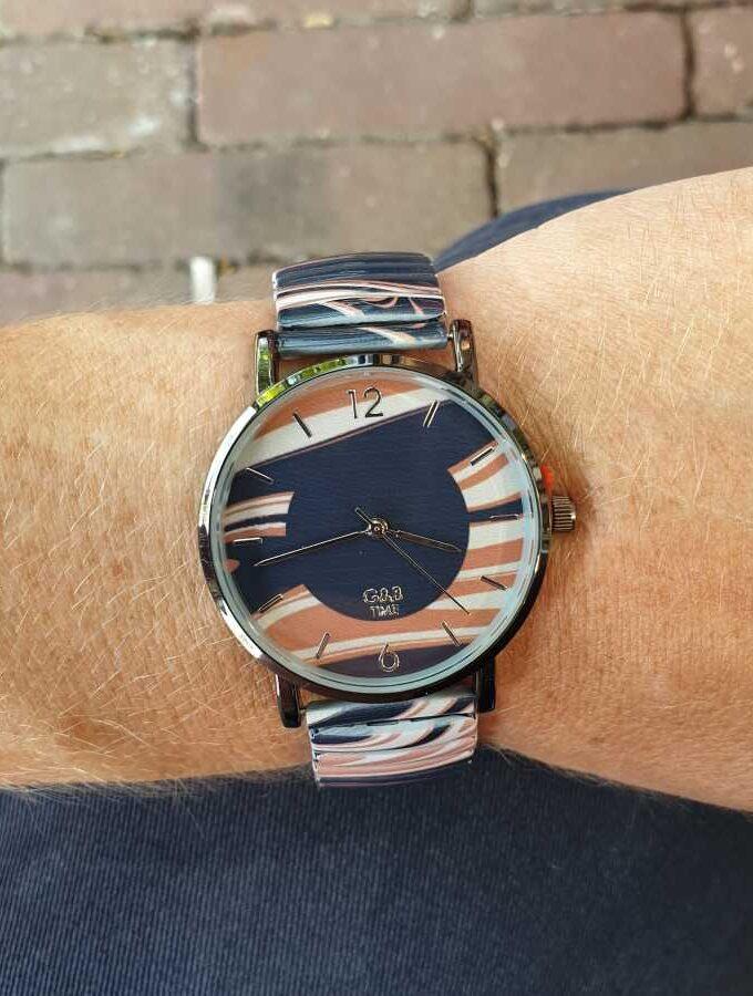 Horloge paars blauw strepen