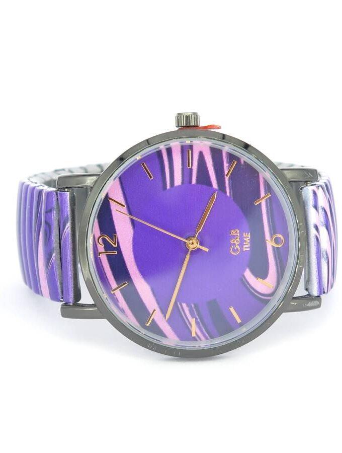 Horloge paars roze strepen