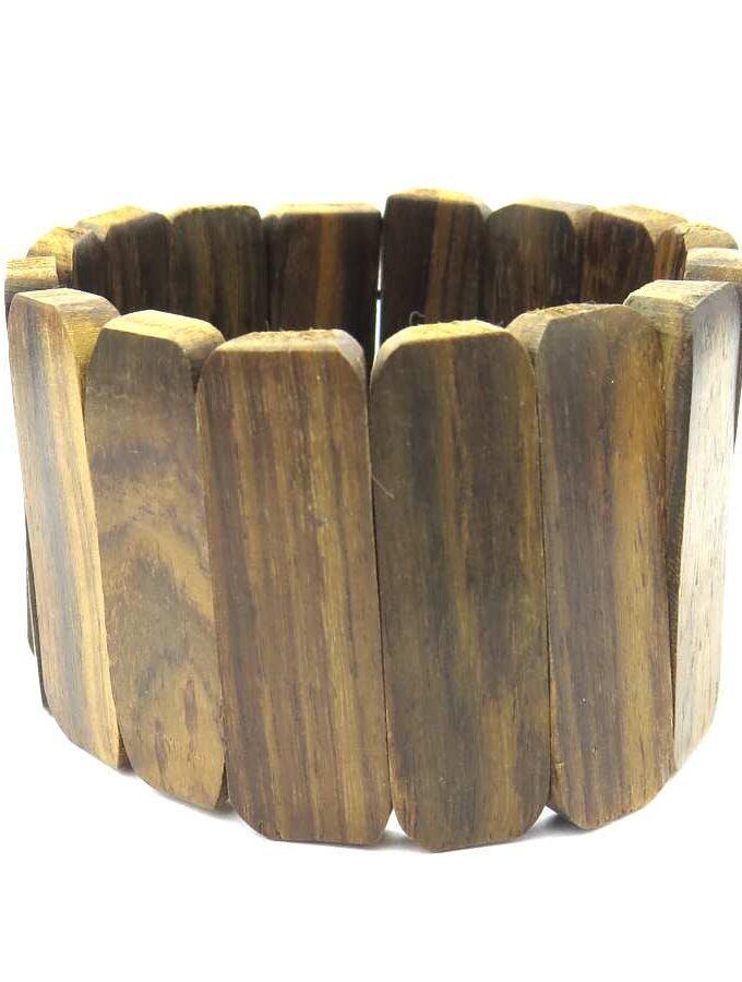 Houten armband bruin elastiek