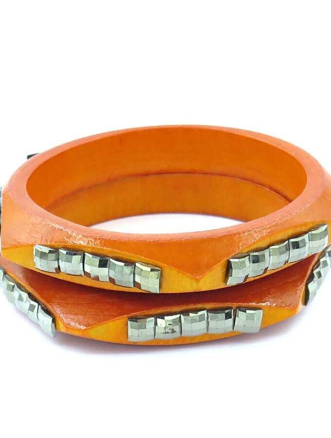 Armband 2 los oranje hout