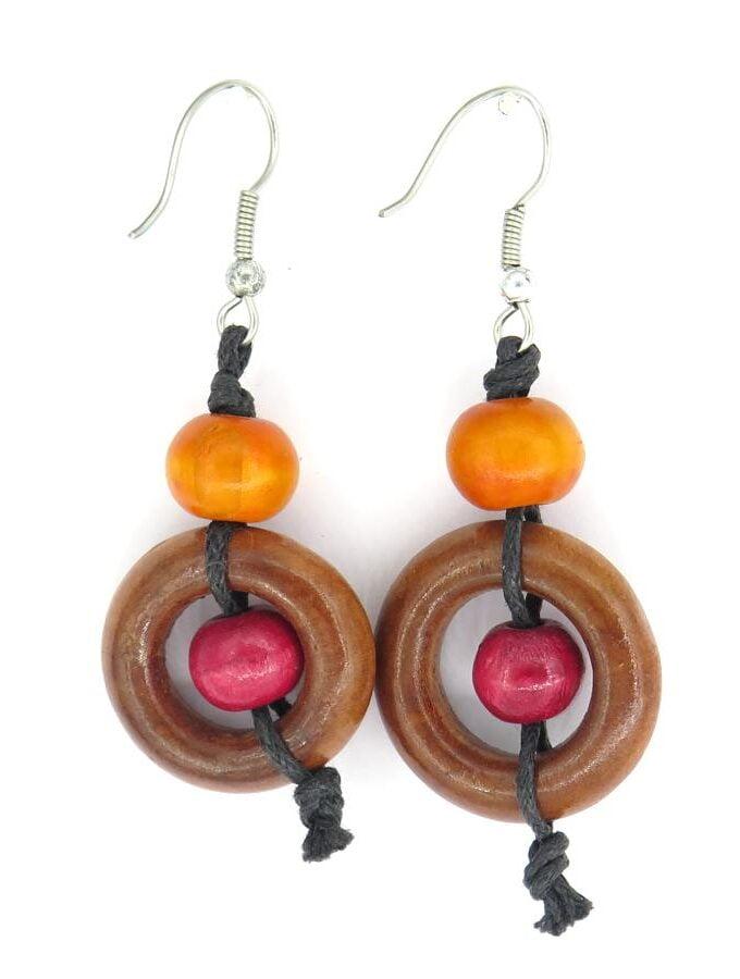 Oorbellen hout oranje bruin