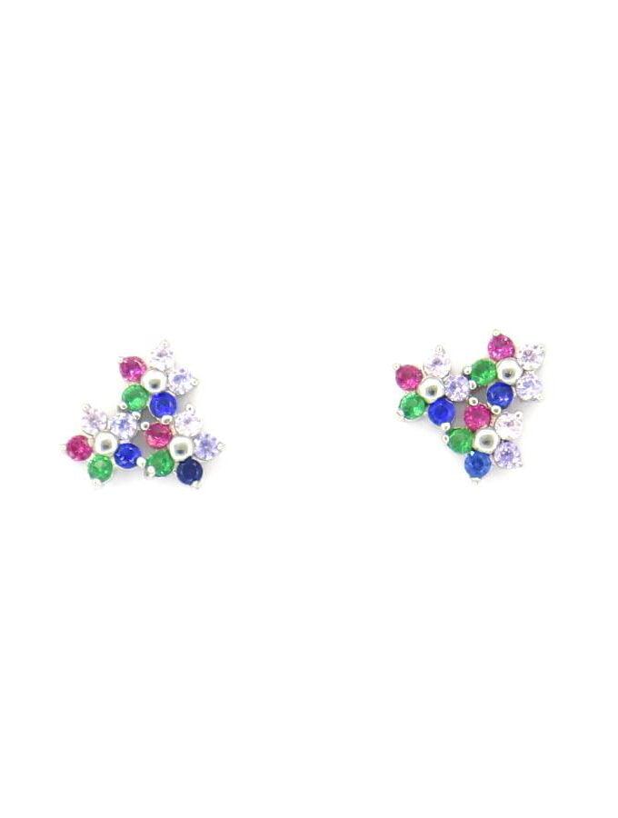 Oorbellen klein bloem multi