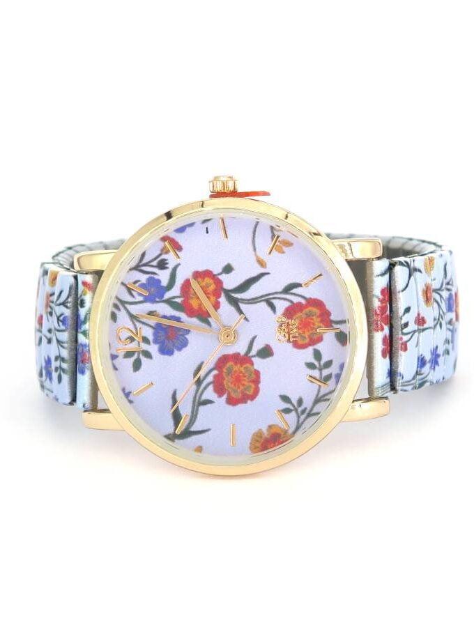 Horloge lichtblauw bloemen