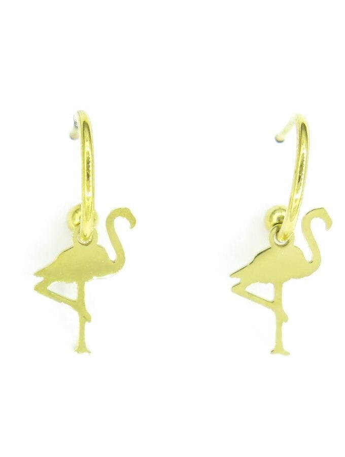 Oorbellen flamingo goud stainless steel