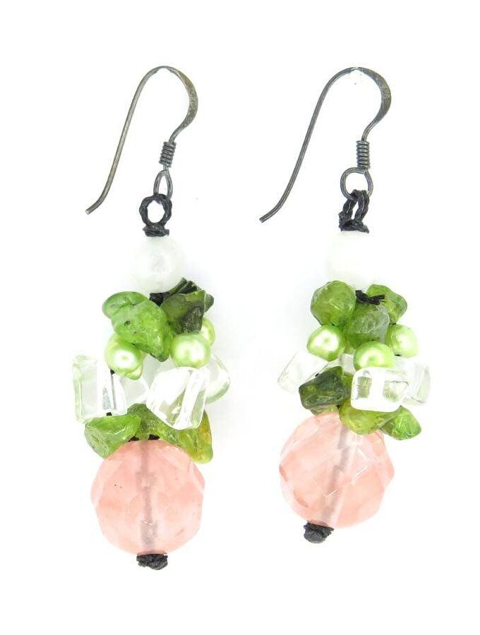 Oorbellen hangers groen roze stenen