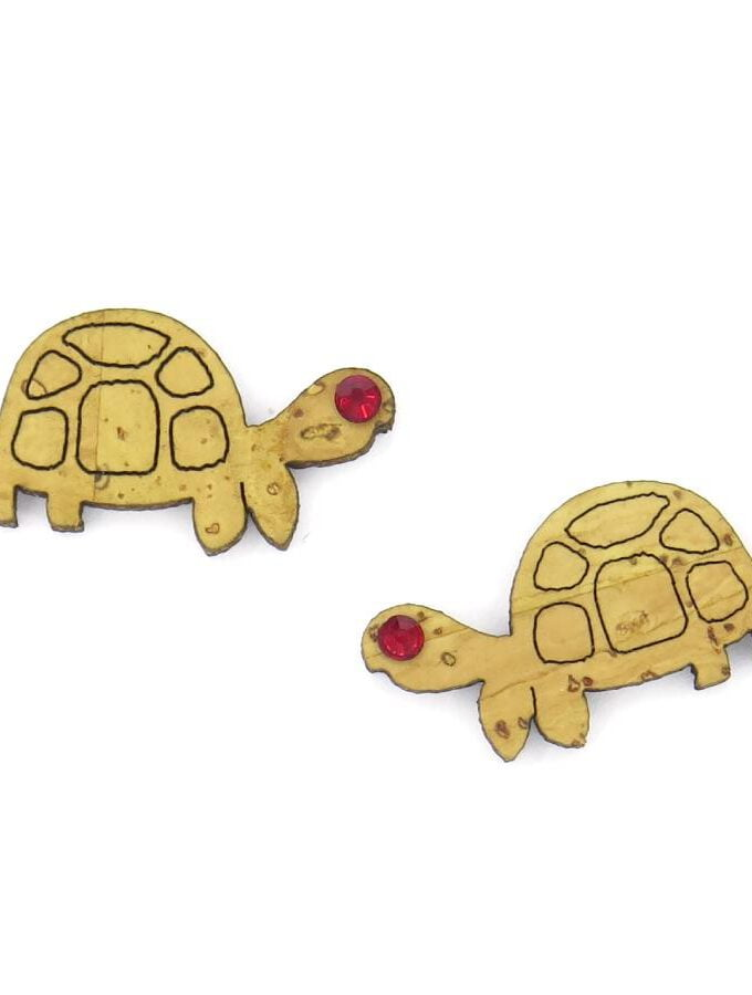 Oorbellen kurk schildpad