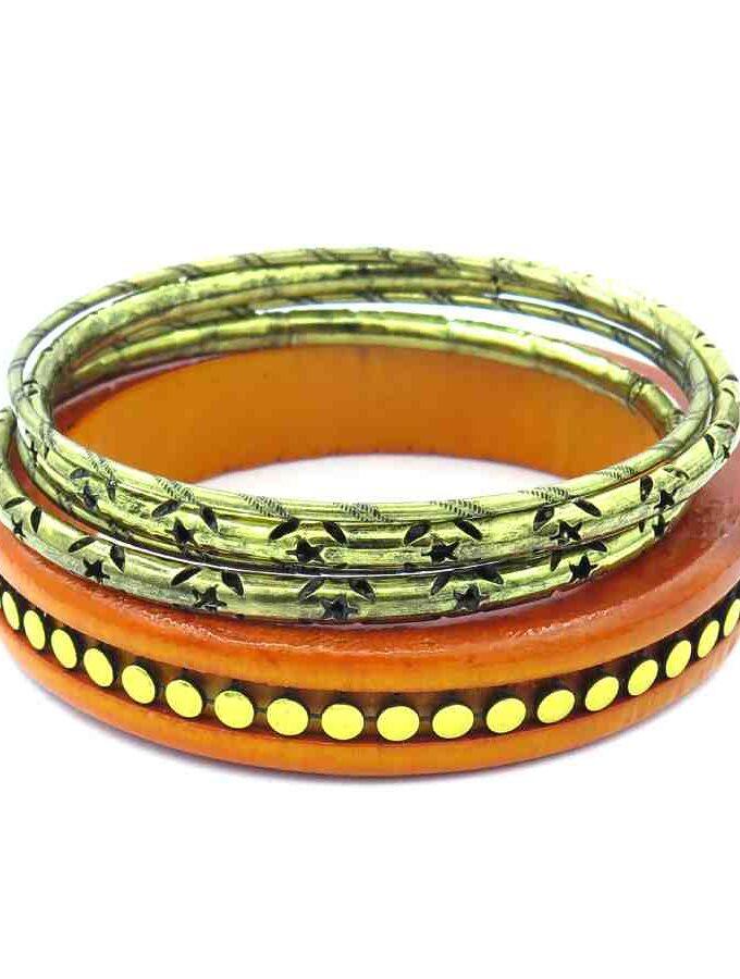 Armband setje los hout oranje en goud