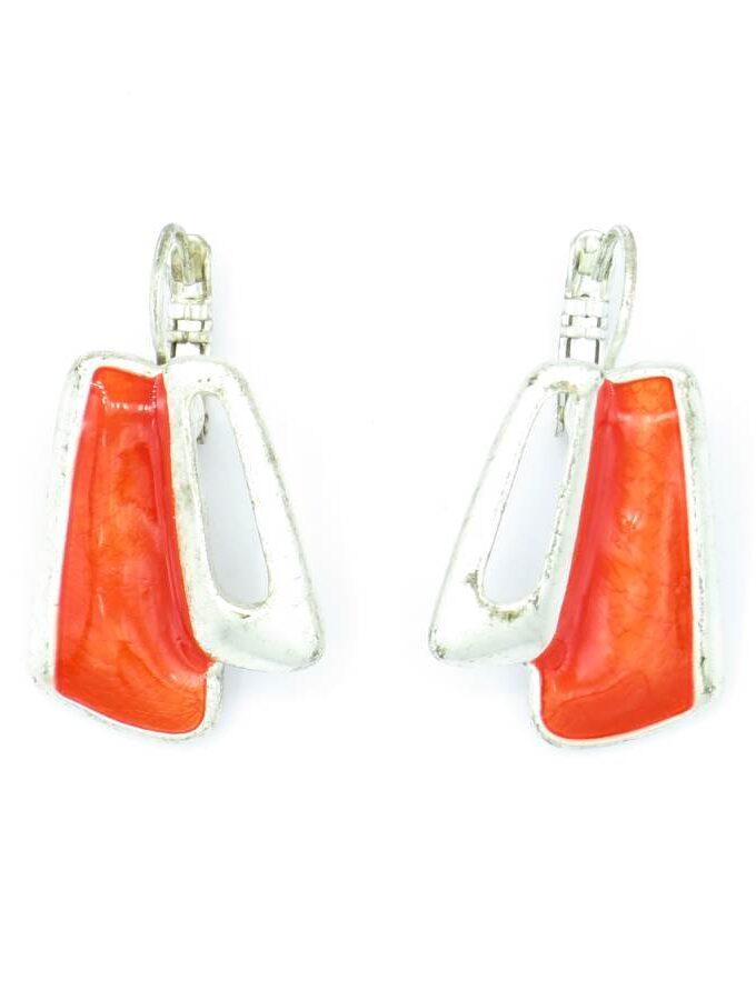 Oorbellen zilver en oranje