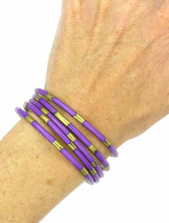 Armband los paars goud