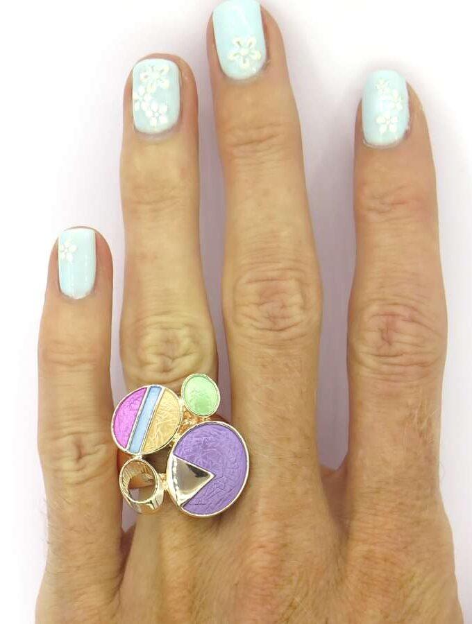 Ring elastiek rosé cirkels paars en groen