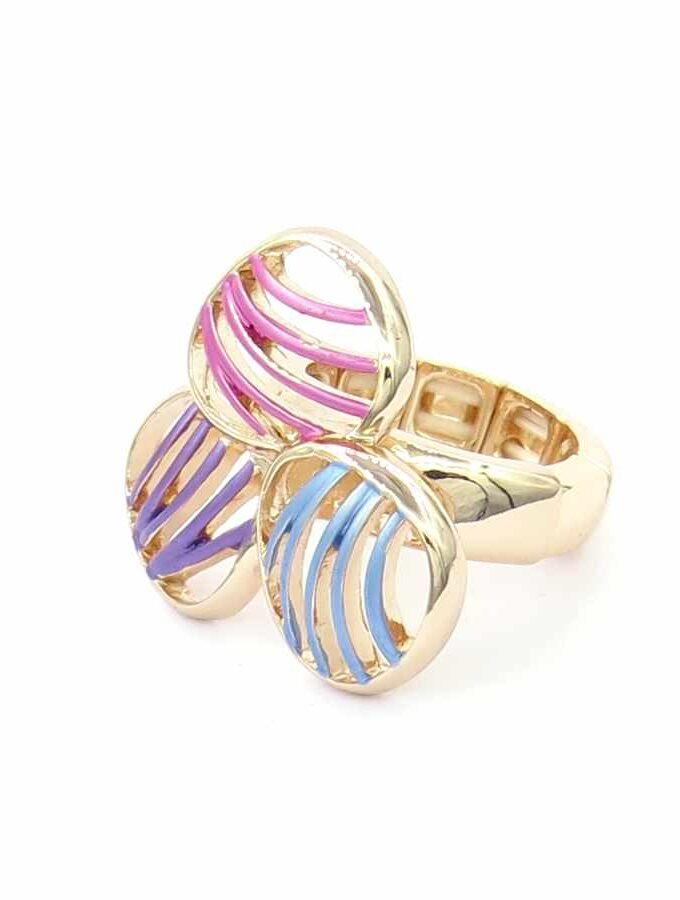 Ring rosé elastiek multi cirkels