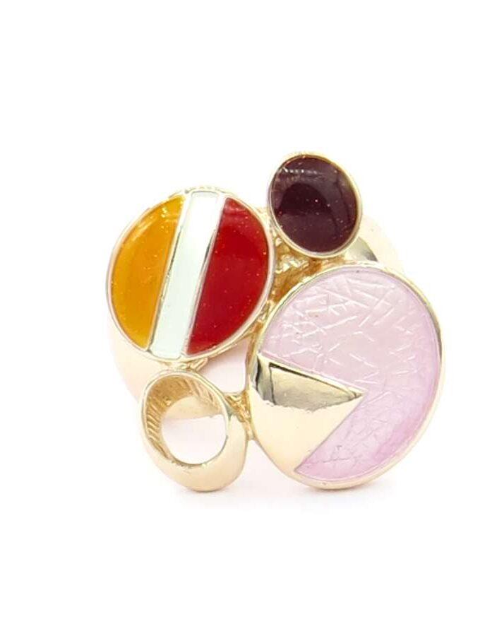 Ring elastiek rosé cirkels rood en roze