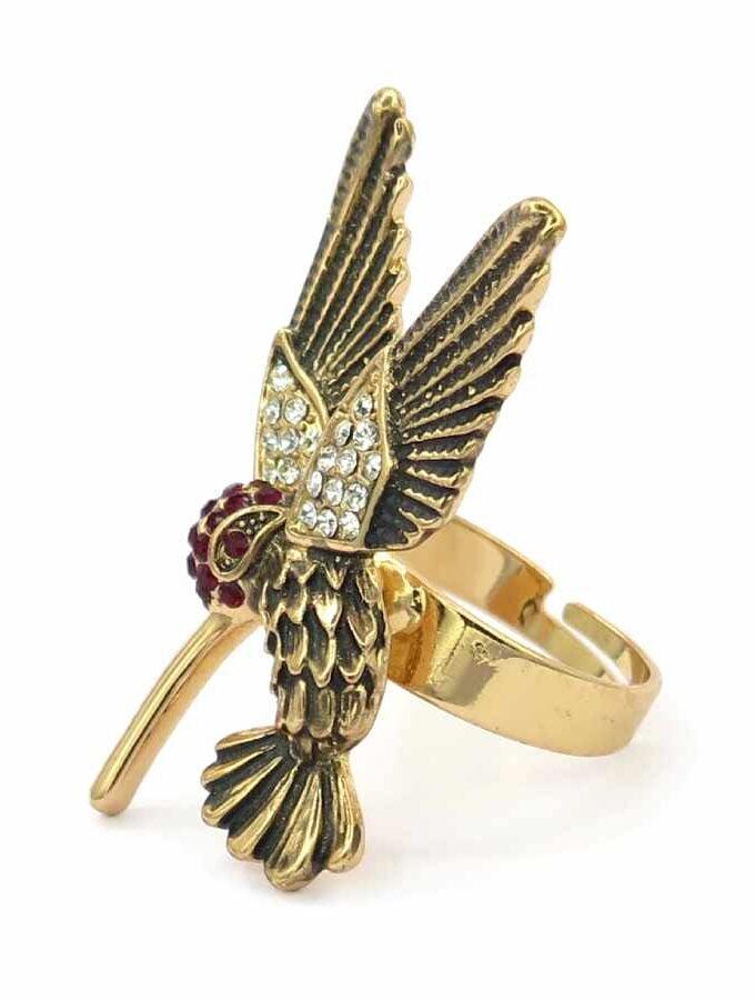Ring rosé kolibrie stenen