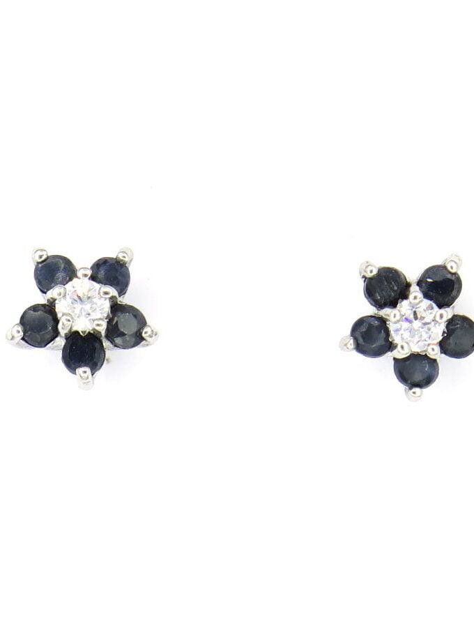 Oorbellen zilver zwarte bloem