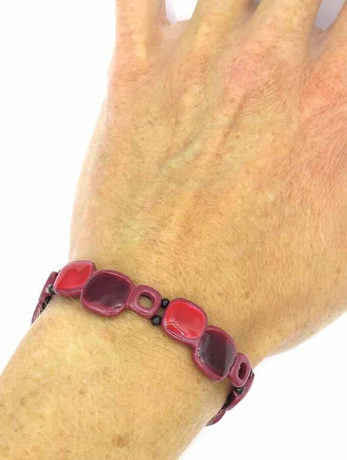 paars en roze armband blokjes