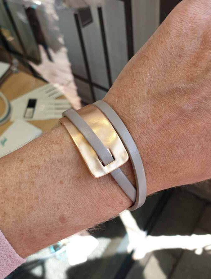Armband dubbel taupe en rosé