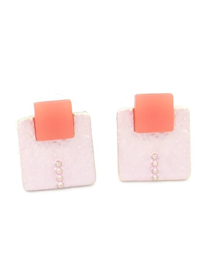 Oorbellen vierkant blok roze