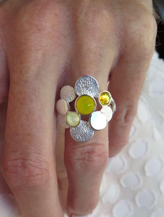 Ring Swarovski stenen geel