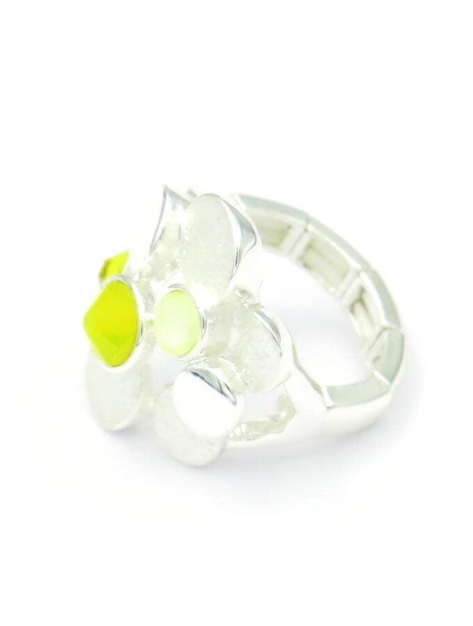 Ring zilverkleur elastiek cirkels geel