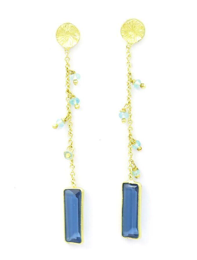 Oorbellen lang chalcedoon blauw goud