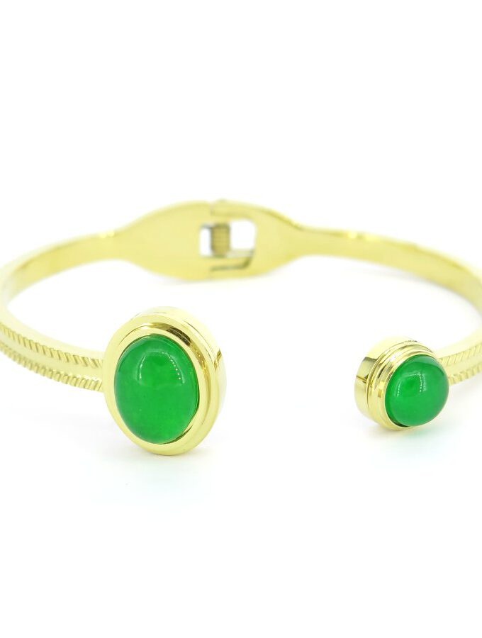Goude armband groene stenen klemsluiting