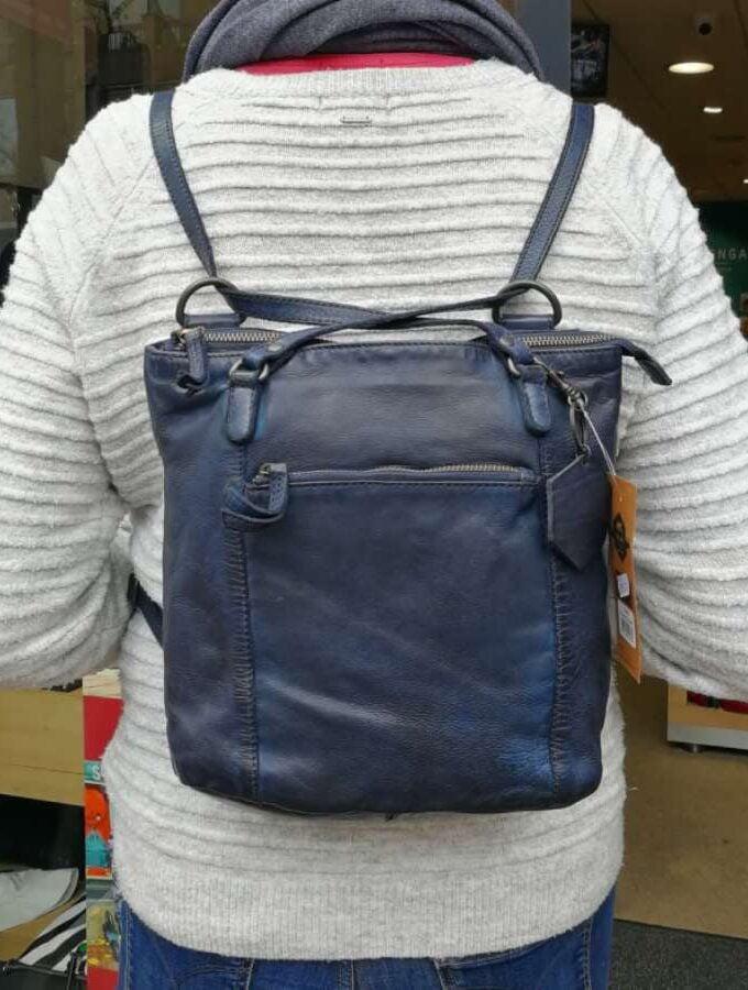 blauwe rugzak leer beardesign CL40273