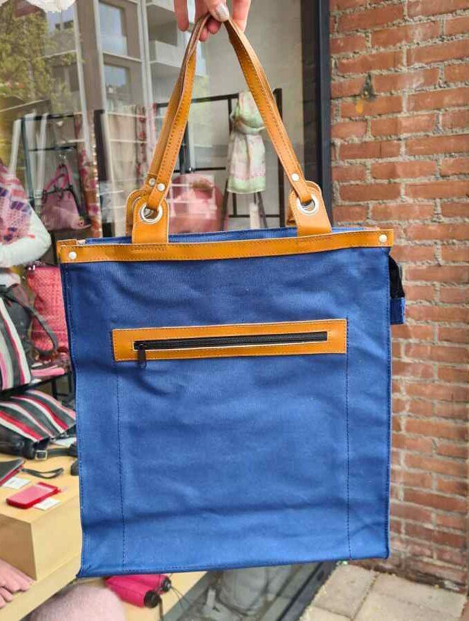 canvas blauw boodschappentas
