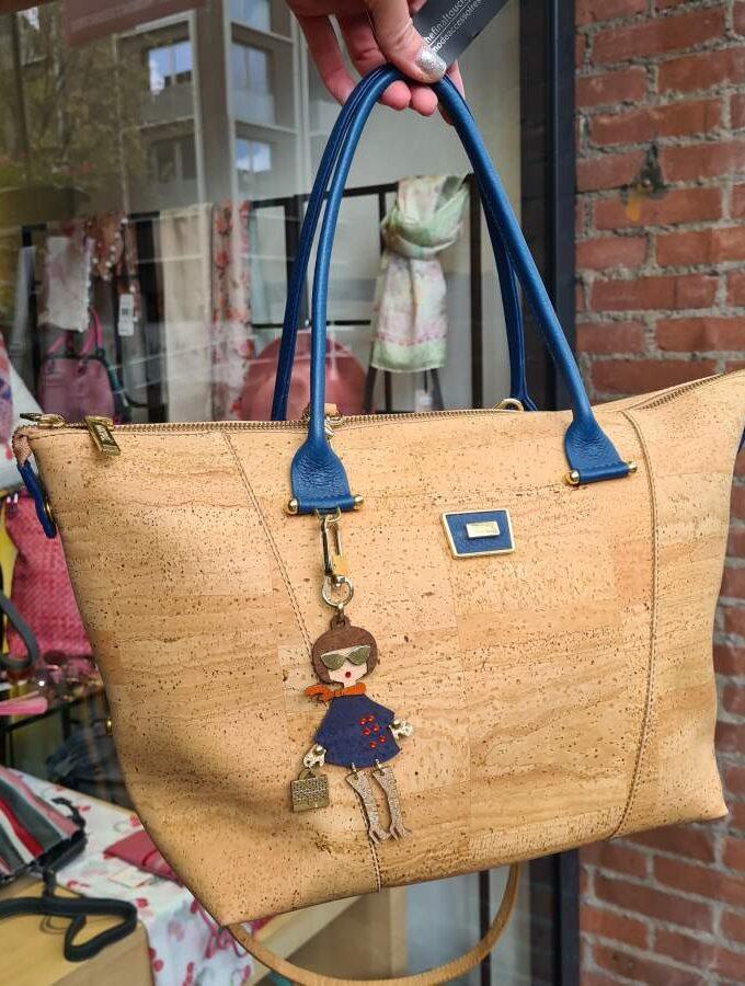Shopper kurk blauw