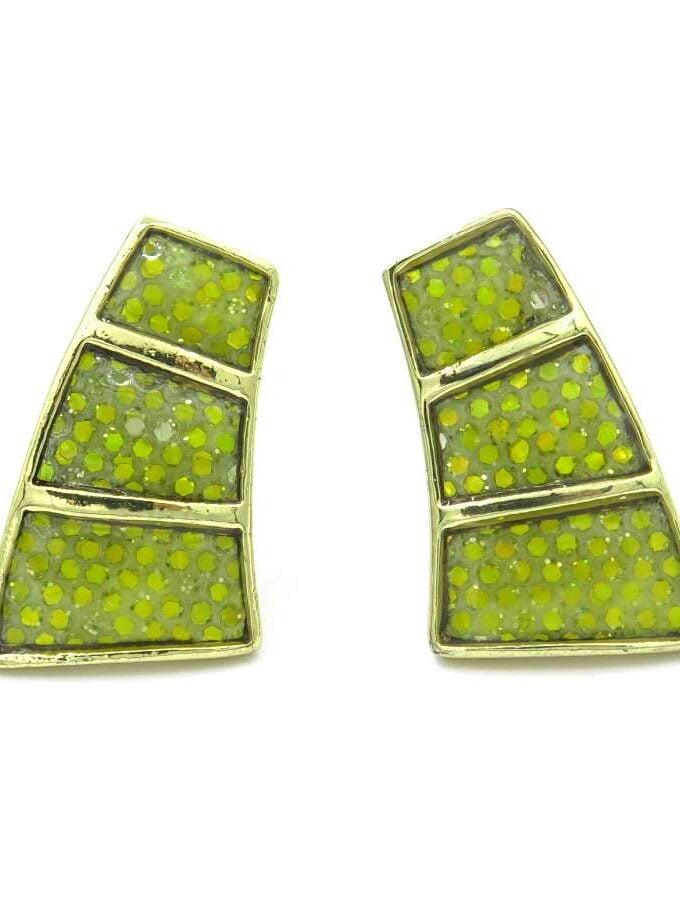 Oorbellen clips groen drie stenen