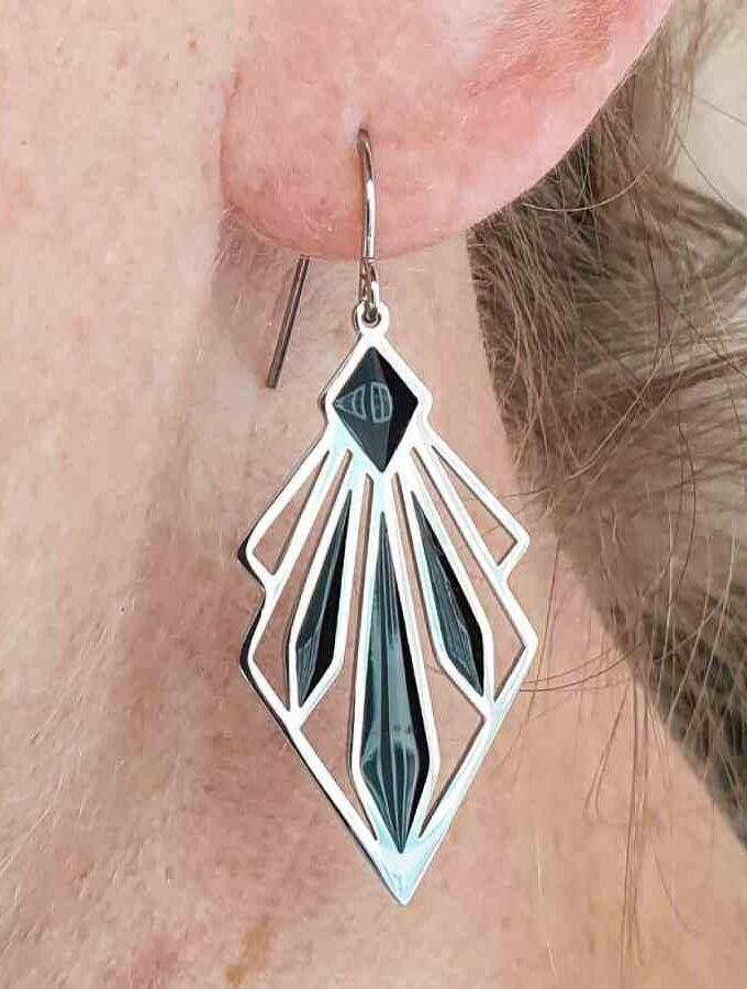 Oorbellen hangers waaier zilver zwart