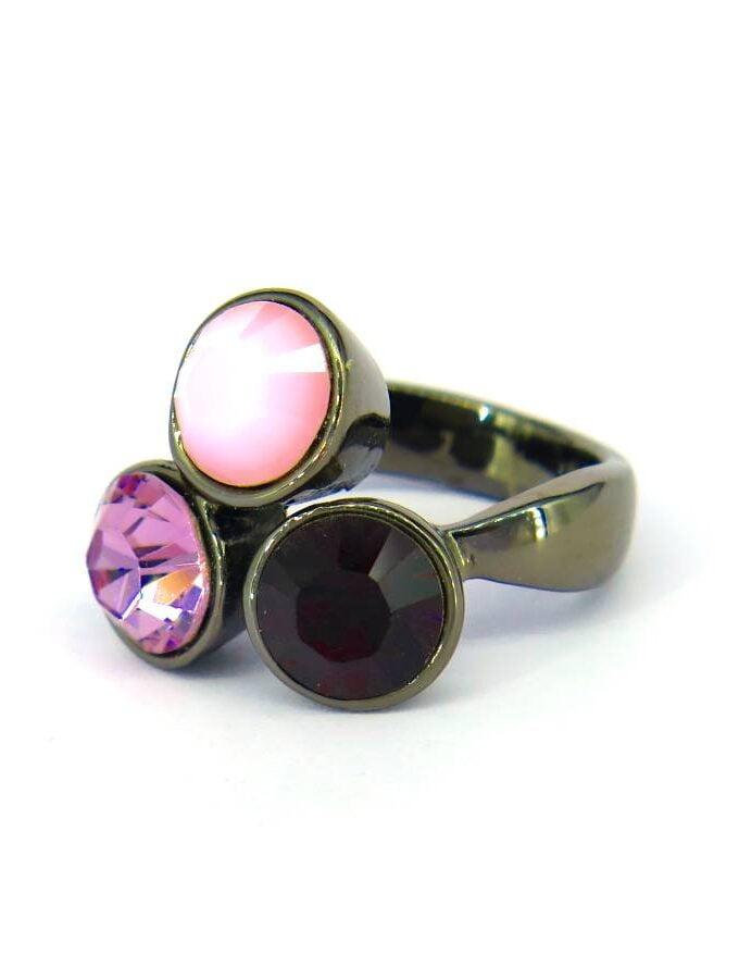 Ring cirkels roze rode stenen elastiek
