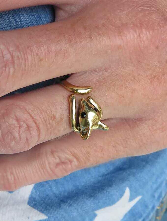 Ring goudkleur met muisje