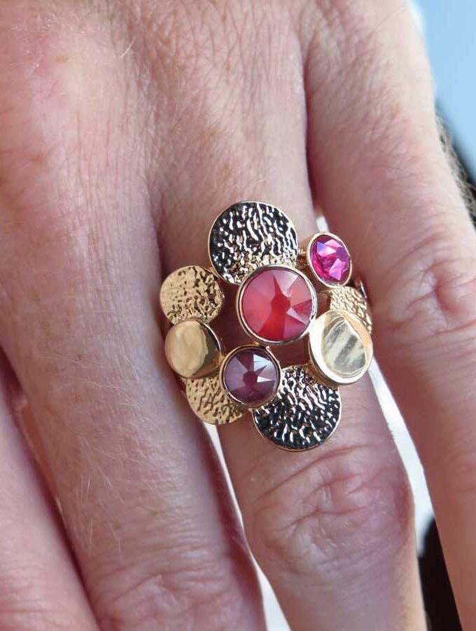 Ring rosé cirkels rood en paars