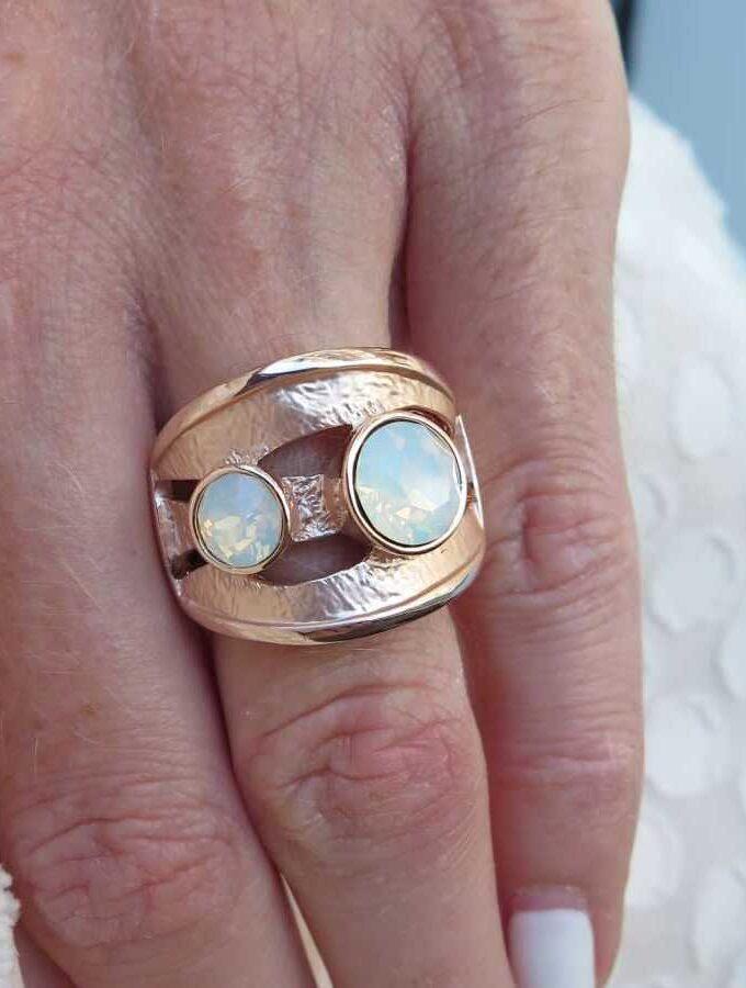 Ring rosé wit stenen elastiek