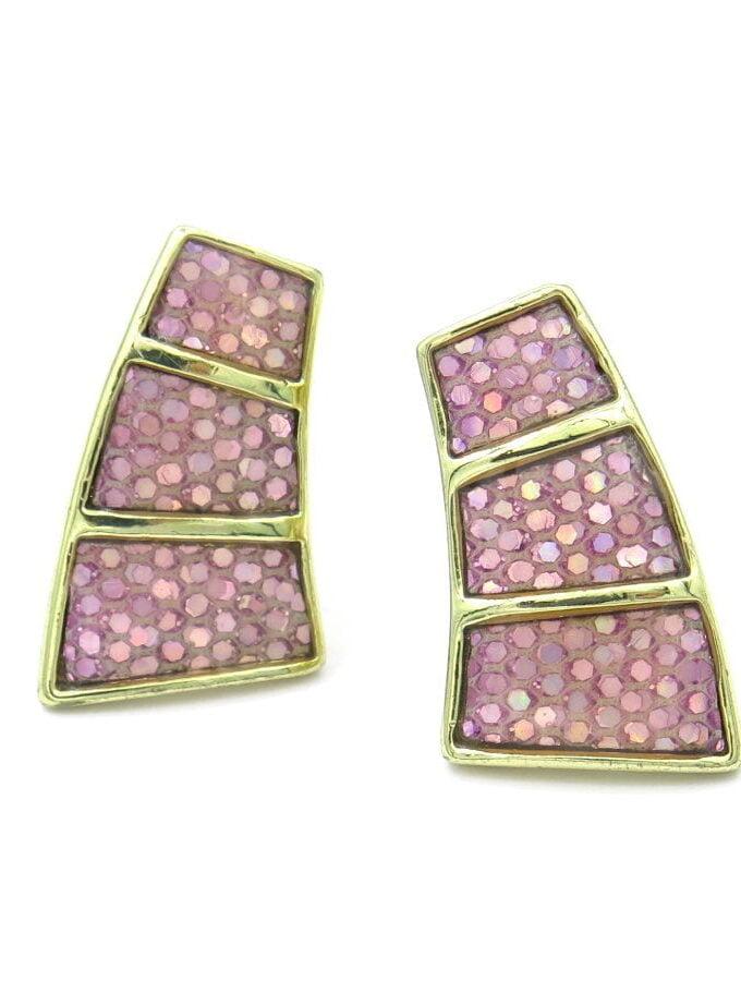 Oorbellen clips roze drie stenen