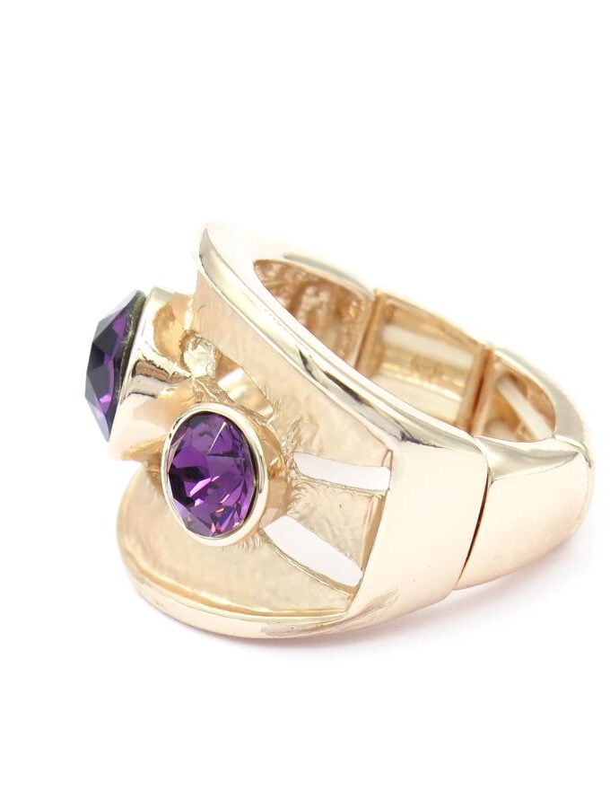 Ring rosé paars stenen elastiek